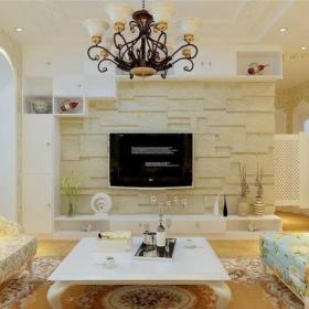客厅家居收纳电视背景墙田园风格效果图电视墙