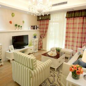 綠色田園客廳三居室溫馨甜美田園風客廳沙發電視柜裝修效果圖