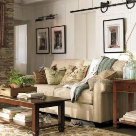 田園風格客廳背景墻裝修效果圖田園風格雙人沙發圖片