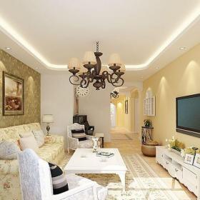 米色田园客厅清爽田园风格三居室客厅效果图