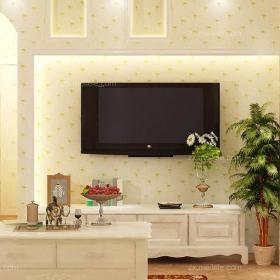 白色80㎡背景墙田园韩式二居客厅客厅背景墙有爱的电视背景墙设计装修效果图