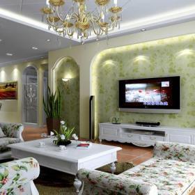 电视背景墙客厅吊顶田园绿色电视墙效果图