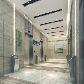 现代木门写字楼电梯间效果图