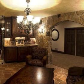 美式地下室裝修酒窖效果圖