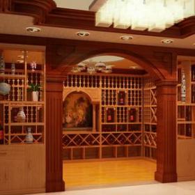 新中式風格酒窖帶門博古架裝修效果圖