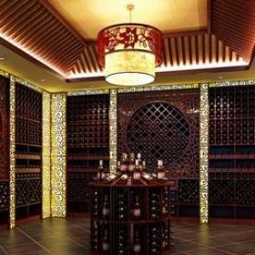 新中式风格酒窖吊顶装修效果图-新中式风格酒柜图片