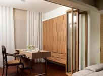 卧室隔断开放式书房地台与折叠门隔断设计效果图