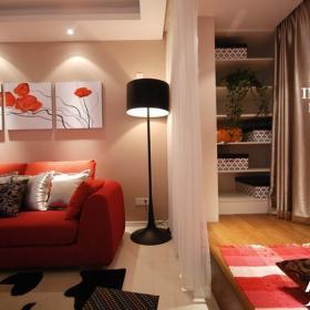 简约风格三居室富裕型客厅地台沙发婚房设计图纸