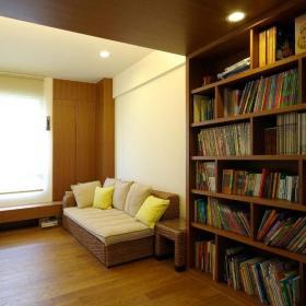 餐廳書房簡約風格二居室10-15萬90平米客廳地臺書架新房家裝圖效果圖