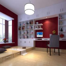 电脑桌椅凳吊灯简约风格儿童房榻榻米地台装修图片简约风格儿童书桌图片效果图欣赏