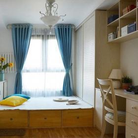 壁柜榻榻米地台窗帘两室两厅简欧风格书房装修图片简欧风格地台装修图片效果图