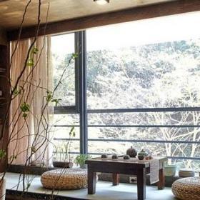 古典茶几茶室日式地台茶韵阳台设计效果图