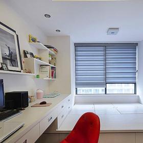 壁柜小复式楼榻榻米地台现代简约风格书房装修图片现代简约风格地台装修图片效果图欣赏