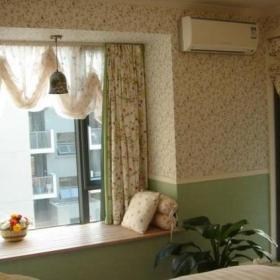 壁纸窗帘家居摆件榻榻米地台田园风格主卧飘窗窗帘图片效果图大全
