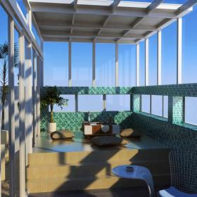 休闲娱乐间地台马赛克背景墙椅凳现代风格休闲娱乐间榻榻米地台装修效果图现代风格茶几图片