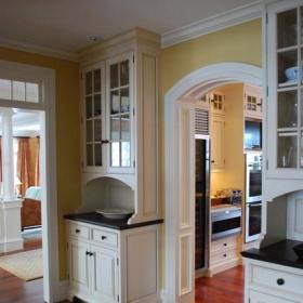 地台美式乡村风格单身公寓设计图欧式门厅吧台装饰设计图效果图