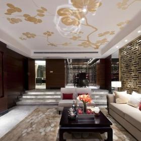 混搭客厅地台样板房设计效果图欣赏
