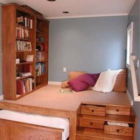 小户型卧室实木地台收纳床效果图大全