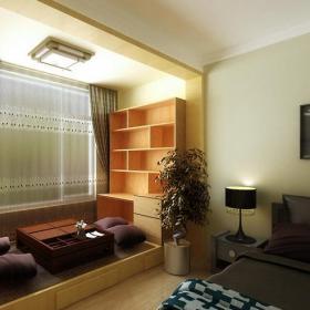 新中式地台榻榻米三居吊顶窗帘新中式风格卧室休息区装修效果图新中式风格地台装修图片