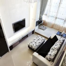 现代简约风格卫生间实用客厅咖啡色60平米两室一厅地台设计图纸