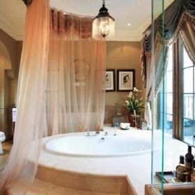 美式乡村风格别墅奢华白色富裕型卫生间地台窗帘图片