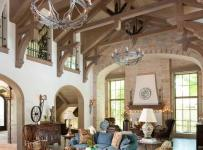 欧式风格卧室三层半别墅新古典卫生间原木色客厅沙发摆放效果图