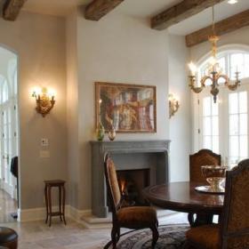 新古典风格卧室三层连体别墅新古典卫生间套房餐厅设计图效果图