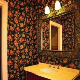 新古典风格复式创意主卫生间镜子仿古砖花纹墙面室内装修效果图
