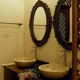 91-120平米三居室酒店咖啡色新古典衛生間臺上盆洗手臺設計效果圖