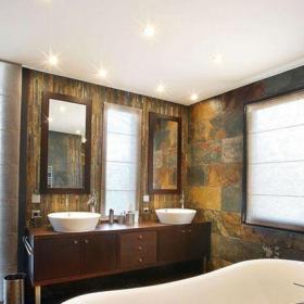 咖啡色151-200平米新古典五居室大戶型新中式風格衛生間雙盆洗手臺效果圖