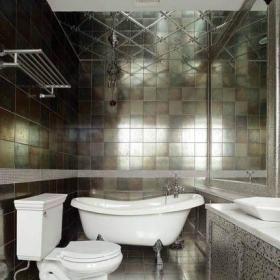 新古典風格別墅時尚高檔主衛生間洗手盆浴缸彩色瓷磚室內裝修效果圖片