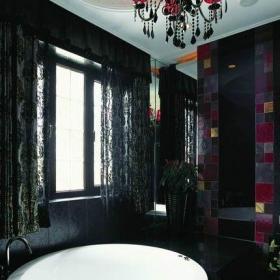 2013新古典風格復式創意主衛生間圓形吊頂窗簾洗手盆裝修圖片效果圖