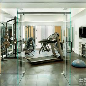 家庭健身房玻璃推拉门图片效果图
