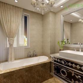 新古典风格卫生间大理石墙面装修效果图新古典风格面盆柜图片