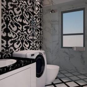 新古典風格獨棟別墅衛生間背景墻裝修效果圖新古典風格衛浴柜圖片