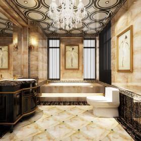 壁燈吊燈浴缸吊頂浴缸衛生間吊頂408㎡聯排別墅新古典風格衛生間裝飾畫裝修效果圖新古典風格面盆柜圖片