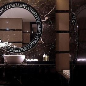 91-120平米二居室新古典風格黑色衛生間臺上盆洗手臺效果圖