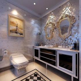 新古典风格卫生间瓷砖背景墙装修效果图新古典风格化妆镜图片