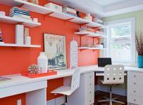 客厅背景墙现代大户型书桌橙色的书房空间装修效果图