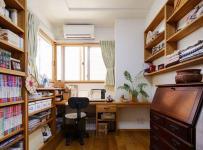原木色91-120平米三居室质朴古韵日韩风格书房装修效果图