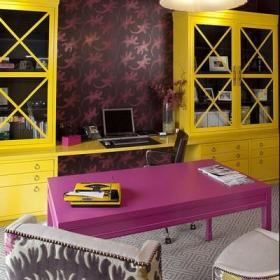 实木家具混搭书桌110㎡阁楼里彩色的书房空间效果图