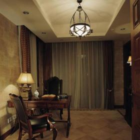 美式美式風格書房別墅裝修效果展示效果圖