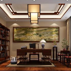 裝飾畫吊燈置物架博古架書架中式別墅書桌書房正面吊頂裝修效果圖