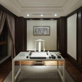 中式风格三居室书房窗帘装修图片效果图大全