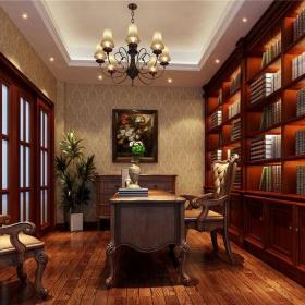 新中式风格别墅书房壁纸装修效果图欣赏