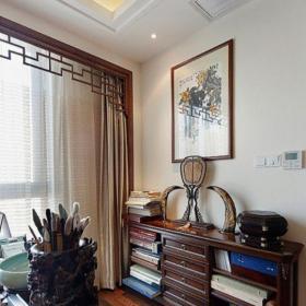 中式風格二居室書房窗簾裝修效果圖大全