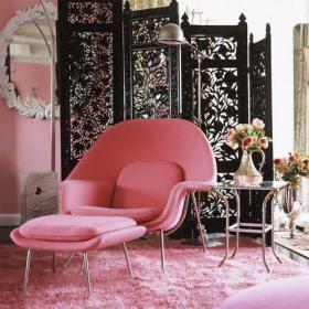 雕花隔断混搭地毯粉色可爱与优雅兼容并蓄的书房装修效果图
