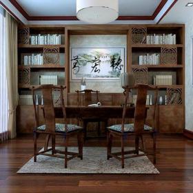 窗帘中式书房中式风格书房装修效果图中式风格书桌图片