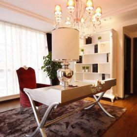 北欧吊顶灯饰书柜大户型吊顶让书房更加时尚的书桌设计效果图欣赏