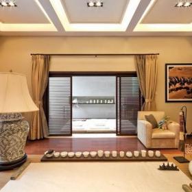装饰画灯具单人沙发窗帘吊顶窗帘新中式风格别墅书房吊顶装修效果图新中式风格书桌图片